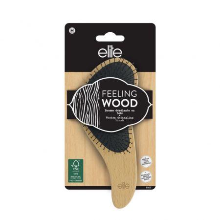 Brosse démêlante en bois, avec picots nylon ultra-flexibles