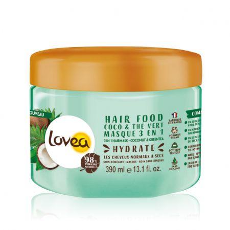 Coco & Thé Vert Hair Food masque hydratant pour tous types de cheveux, ingrédients 98% origine naturelle